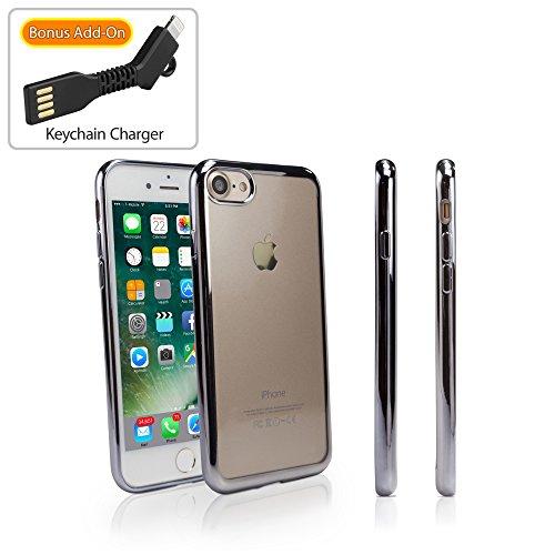 Apple iPhone 7 hoesje, BoxWave® [GlamLux hoesje met BONUS sleutelhanger oplader] Duurzaam hoesje met metallic gekleurde bekleding voor Apple iPhone 7 - Metallic Zilver