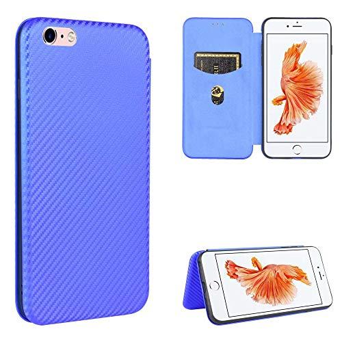 Miagon iPhone 7/8 Brieftasche Hülle mit Kohlefaser Textur,PU Leder Schutzhülle mit Kartenfach Handyhülle Tasche Etui Folio Flip Cover Case Tasche für iPhone 7/8