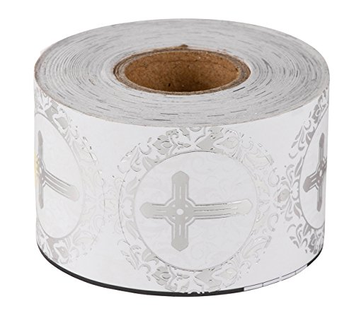 Religious Stickers – 500-Piece Christian Sticker Roll, Cross Design Round Labels with Silver Foil Finish, Round Labels Ideal for Christening, Communion, Christian Occassions, 1.5 inches in Diameter