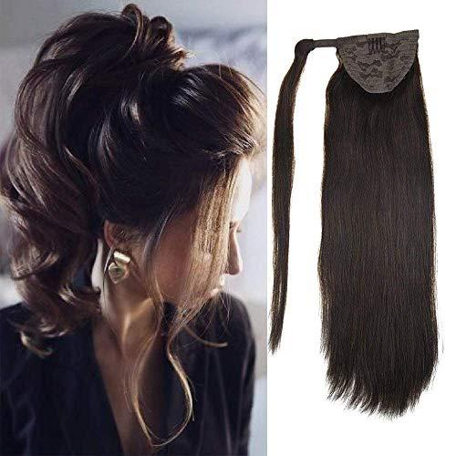 LaaVoo Zopf Extension Echthaar #2 Dunkelstes Braun 100% Echte Haare Zopf 16 Zoll/40cm Ponytail Extension Echthaar 80Gramm Einteiliger Clip