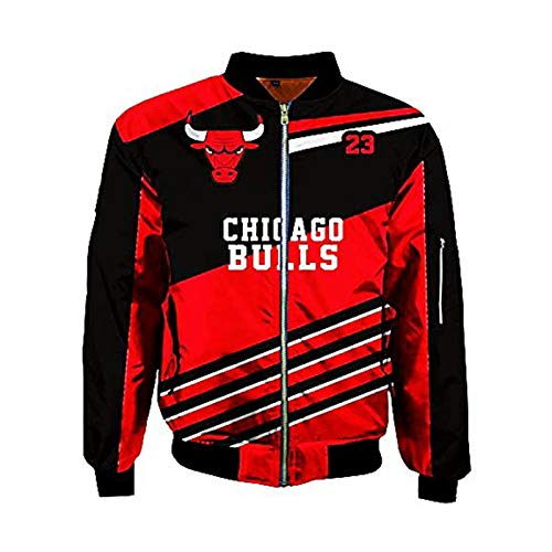 UIQB Chicago Bulls Nr. 23 Michael Jordan Jacke Herren Rote Jacke, Dicke Jacke, Reißverschluss Flieger Fliege Fluganzug, Lässig, Sport, Joggen Bulls 23 Jacket-XL