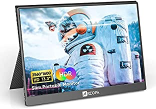 Arzopa 2K Portable Monitor, 13.3'' Ultra-Slim 2560x1600 100% sRGB Portable Laptop Monitor, USB C HDMI Gaming Computer Display IPS Eye Care Screen w/Smart Case & 2 Speakers, for PC Mac Phone PS4 Xbox