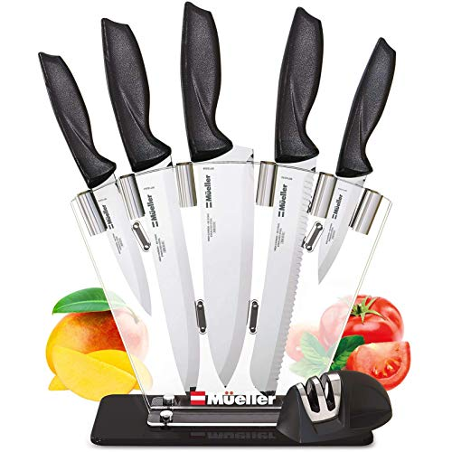 Mueller Deluxe Knife Set With Block, Stainless Steel Pro 7-Piece Ultra Sharp Kitchen Knife Set with Acrylic Stand
