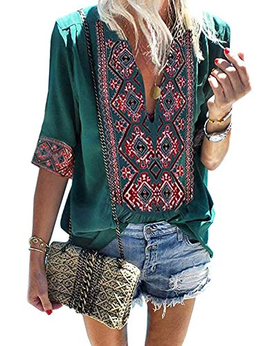 ZILIN Women's Casual V Neck Bohemian Embroidered Mexican Shirt Loose Blouse Tops (Green, Medium)