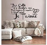 La chambre à coucher décorer Français Citation Amour Vinyle Sticker Mural Stickers...