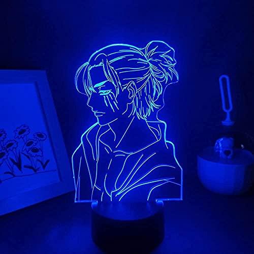 GEZHF 3D noche luz ataque a Titan 4 Anime Figura Eren Jaeger Yeager Led noche manga RGB shingeki no Kyojin 3D lámpara decoración de la habitación