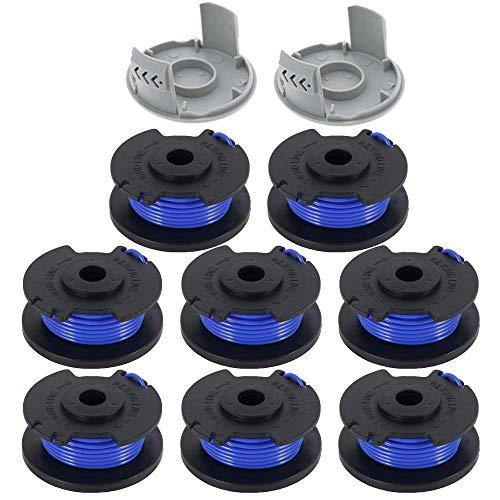 Lot de 10 bobines de rechange pour coupe-bordures Ryobi 18 V, 24 V et 40 V avec alimentation automatique sans fil (8 bobines + 2 capuchons) Bleu