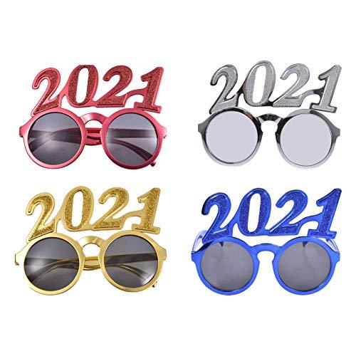 Teeyyui Gafas de fiesta 2021 Año Nuevo Gafas de fiesta Unisex Divertidas Prop Gafas de Año Nuevo y Año Nuevo (Rojo)