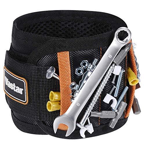 Vastar Magnetisches Armband mit 5 leistungsstarken Magneten für Schrauben, Nägel, Bolzen, Bohrer, Befestigungen, Scheren und andere kleine Werkzeuge, VMW2-ALX-1, gelb