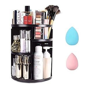 Smatoy Organizador de Maquillaje de Rotación 360°, Organizador Cosmético de Belleza Ajustable, Caja Cosmética de Maquillaje para Tocador, Baño, Dormitorio (Bandejas para cosméticos)