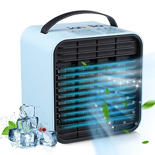 Janolia USB Klimaanlage, 3 in 1 Tragbar Mini Negatives Ion Lüfter, USB-Aufladung, 3 Speeds, mit LED Nachtlicht, Geeignet für Zuhause, Büro, Outdoor