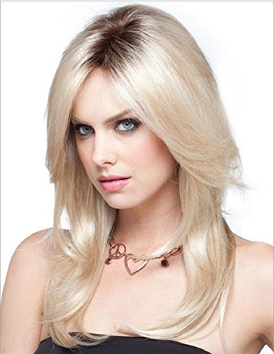 Long Ombre Blonde Wig Natural Straight Middle Parting Dark Roots Cosplay Pleine Perruque High Temperature Fiber Hair For Women Lady