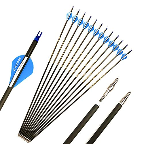 28.5 Inch Arrow 400 Spine Arrow Target Practice Arrow Hunting Arrow Carbon Arrows Compound Bow Recurve Bow Adult Youth Archery Indoor Outdoor Shooting Field Tip 12pc