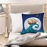 Funda de Cojines Suave Poliéster,Luna, viejo barco con tempestad montando las olas Luna lle,Funda de Almohada Cremallera Oculta Duradero Decoración para Sofá Cama Dormitorio Aire Libre Oficina 45x45cm