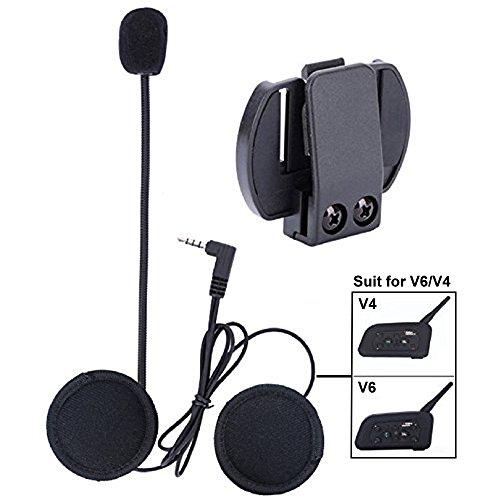 QSPORTPEAK Microphone Headphone Hard Cable Headset & Clip Accessory for New V6/V4 Motorcycle Helmet Bluetooth Interphone Motorbike Intercom