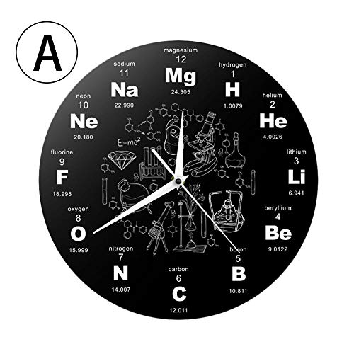 Reloj De Pared, Reloj De Elementos Químicos - Reloj De Pared Único - Reloj De Pared De Acrílico Reloj De Novedad Símbolo De Química Reloj Regalo De Profesor De Química