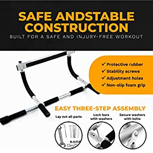 Pull Up Bar for Doorway - Multi Grip Chin Up Pull-Up Bar with Foam Covered Handles - Premium Exercise Equipment for Home Fitness - Portable Multi Gym System for Men Trainers Upper Body Workouts