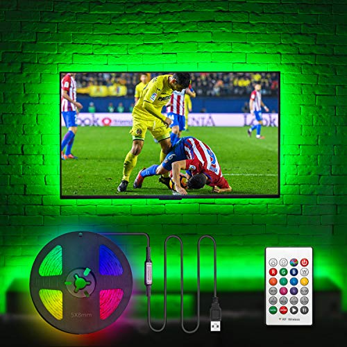 "Hamlite LED Strip Lights for TV 65 Inch TV Backlight 65 Inch Bias Lighting TV Light Strip Mood Ambient Lighting, 15ft Customized Length to Cover 4/4 Sides of 60-65"" TVs, RF Remote, 18 Colors, 6 Modes"