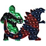 DDWT 2 Pack Big Size Godzilla vs Kong Toys Push Pop Bubble Fidget Toy Autism Special Needs Stress Reliever Toy Silicone Squeeze Sensory Toys Stress Relief Anti Anxiety for Kids Adults