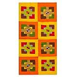 NOVICA Lana plana de la armadura de la manta de área (2x4), el cuadrado y la Cruz Multicolor