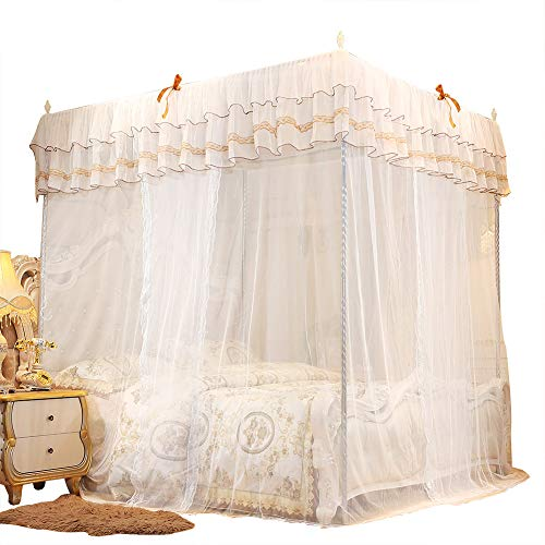 SunshineFace Moskitonetz für Schlafzimmer, luxuriöse Prinzessinnen-Vorhänge mit vier Ecken, Betthimmel und Moskitonetz