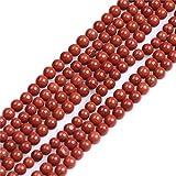 Sweet & Girl's Store tallado redondo de colour blanco con diseño de piedras preciosas Perlas Strand 38.1 cm de la joyería de la fabricación de perlas, 4mm Roter Jaspis Perlen