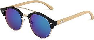 メンズとレディースのサングラス、 男性女性色レンズ用レトロ竹UV保護手芸サングラス (Color : Green)