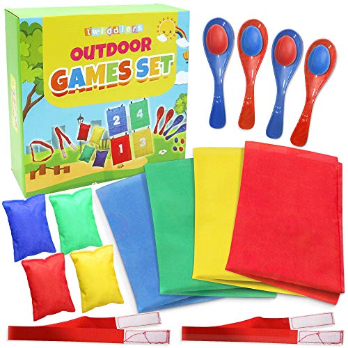 Twiddlers The 4 in 1 Outdoor Games Set - Includes Potato Sack Race, 3 Legged Relay Race, Egg and Spoon Race, Bean Bag Toss - birthdays garden party sports days kit for kids and adults