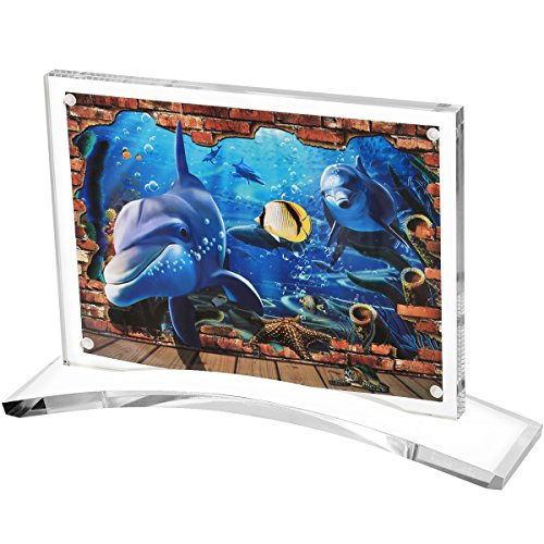 Acrylic Photo Frame (5x7'), Homono Clear Magnet Photo Frame with Stand Double Sided Picture Desktop Frame