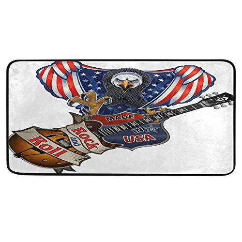 CaTaKu Teppich mit USA-Flagge, Musik-Gitarre, 99 x 50 cm, Polyester, rutschfest, für Küche, Esszimmer, Heimdekoration