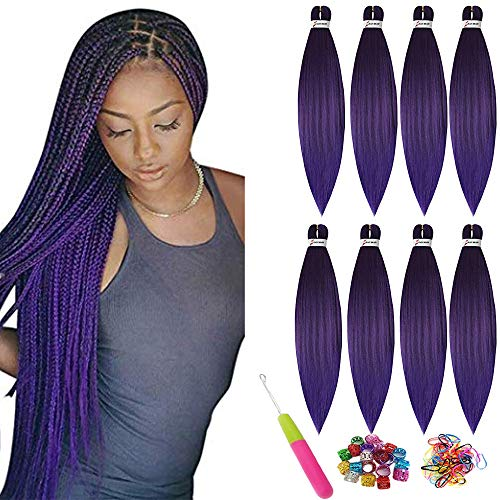 Easy Trenzado de cabello trenzado pre estirado 26 pulgadas Showjarlly Cabello trenzado reestirado profesional Fibra sintética Extensiones de cabello Fibra sintética