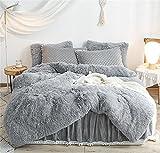 HAIHUA Luxury Plush Shaggy Duvet Cover Flannel Velvet Bedding (1 Faux Fur Duvet Cover +2 Faux Fur Pillowcases) Fluffy Comforter Bed Sets 3 Pieces ,Zipper Closure (Gray, Queen)