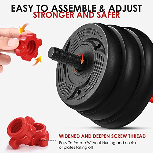 MOVTOTOP Dumbbells Set, 2 in 1 Barbell Weight Set Solid Adjustable Weight Dumbbells up to 30KG with Connecting Rod & Anti-Slip Weight Dumbbell Set for Men & Women Strength Training Workout Gym
