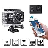 Bindpo Cámara de acción, 1080P 12MP HD WiFi 30M Cámara Deportiva Impermeable Pantalla táctil de 2 Pulgadas con Accesorios para vlogging, Buceo, esquí(Negro)