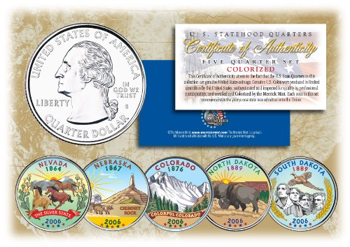 2006 US Statehood Quarters COLORIZED Legal Tender 5-Coin Complete Set w/Capsules