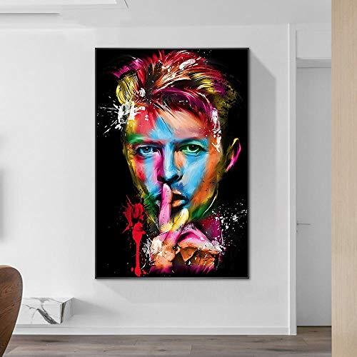 WSHIYI Retrato de David Bowie Pinturas Imprimir lienzos Carteles e Impresiones Arte de Graffiti de David Bowie Cuadros Decoración para el hogar / 60x80cm (23.6x31.5 Pulgadas) Sin Marco