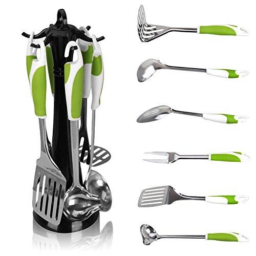 多機能6ピース環境に優しいグリーンステンレスクッキングツールキッチン用具セットキッチン用品アクセサリースタンド+