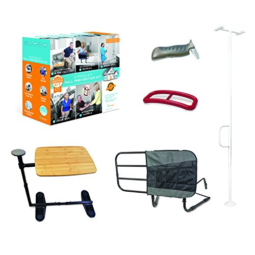 Stander 5 Piece Fall Prevention Kit  All in one Kit Includes Extendable Bed Rail Chair Handle amp Swivel Tray Table Tension Mounted Grab Bar Auto Grab Bar amp Standing Handle