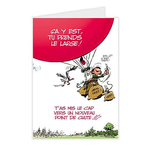 Gaston Lagaffe GLMX-2021 Grande Carte Départ Grand Format A4 + Enveloppe illustrée Bonne chance Bonne continuation maxi géante