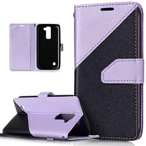ikasus Coque LG K10 Etui Récurer sentir Couleur mixte Housse Cuir PU Housse Etui Coque Portefeuille Protection supporter Flip Case Etui Housse Coque pour LG K10,Noir + violet clair