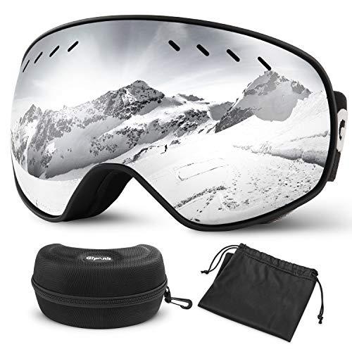 Glymnis Gafas de Esquí Máscara Gafas Esqui Snowboard OTG Super Gran Angular UV400 Protección para Hombre Mujer Adultos Jóvenes (Plateado)
