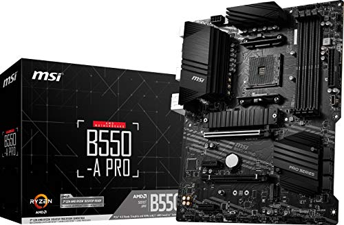 MSI B550-A PRO ProSeries Motherboard (AMD AM4, DDR4, PCIe 4.0, SATA 6Gb/s, M.2, USB 3.2 Gen 2, HDMI/DP, ATX)