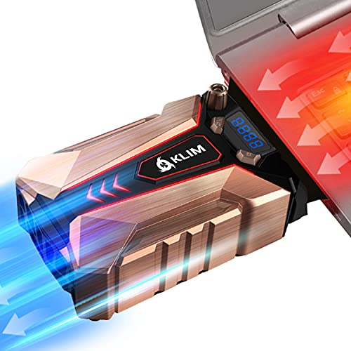 KLIM Cool + Base de Refrigeración para Portátil en Metal - La Más Potente - USB con Aspiradora de Aire para Enfriamiento Inmediato - Base Refrigeradora para el Recalentamiento [Nueva Versión 2021 ]