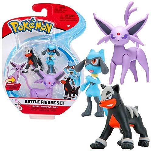 Pokemon Battle Figure Set Espeon Houndour and Riolu