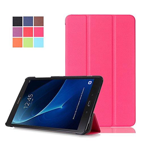 Skytar Samsung Tab A6 10.1 2016 Hülle,Schutzhülle für Galaxy Tab A 2016 LTE - Flip Stand Case Cover in PU Leder Hülle für Samsung Galaxy Tab A6 10.1 Zoll SM-T580N / SM-T585N Tablet Tasche,Hot Pink