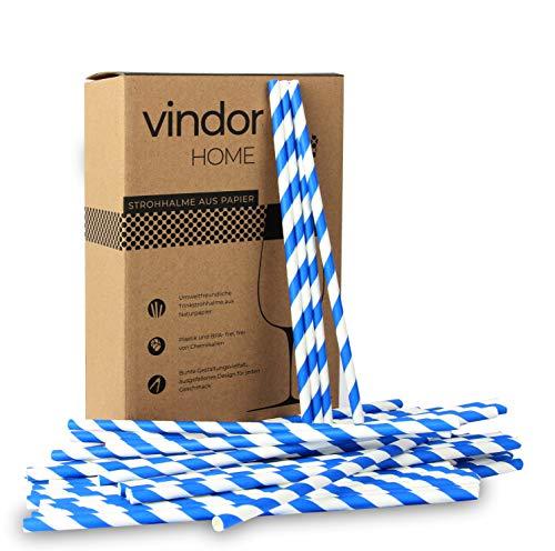 VINDOR Papier Strohhalme - 200 Stück - Papierstohhalm Papier Trinkhalme umweltfreundlich, plastikfrei – blau weiß gestreift