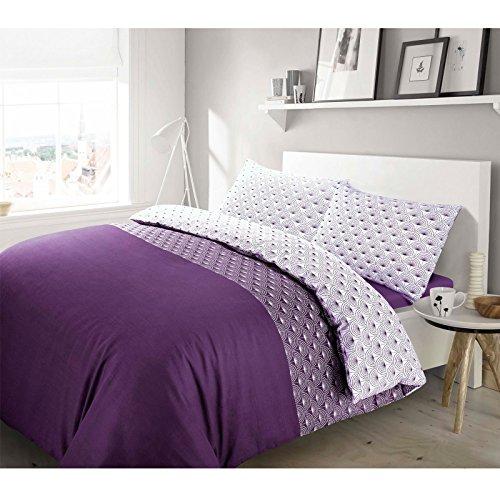 Nimsay Home Paloma Purple 100% Cotton Dandelion Floral Quilt Duvet Cover & Pillowcases Bedding Set (King Duvet Cover Set, Purple)