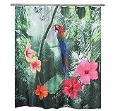 XIAOXINYUAN Wasserdichtes Polyester-Gewebe-Papageien-Duschvorhang 3D Fallender Roter 180X180Cm180X200CmDuschvorhang 180X200Cm