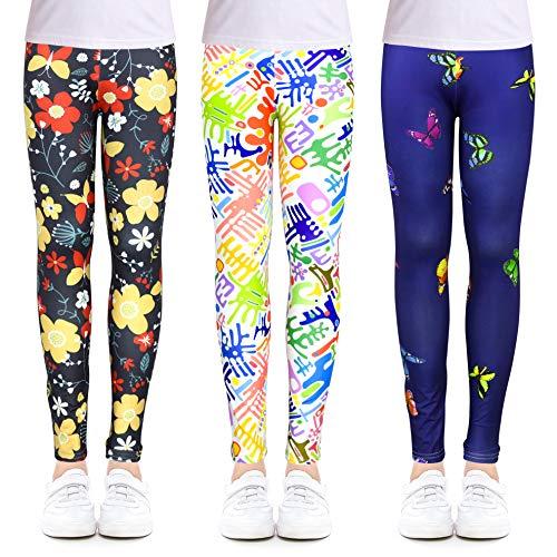 OioTuyi Niñas Leggings Pantalones hasta el tobillo Impresión Flor Ropa de gimnasia Pantalones para niños de 3 a 13 años#ZDEF-65