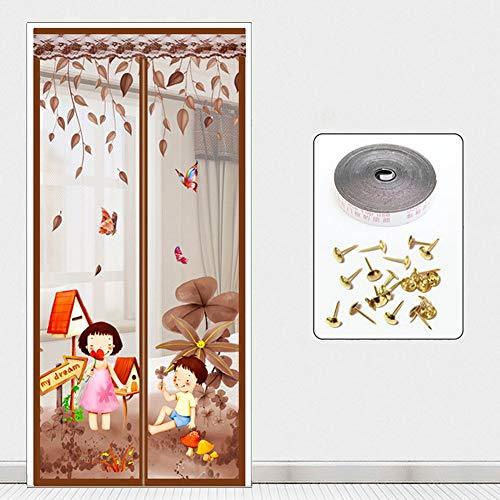 """G&F Mantener Errores Fuera Puerta Magnética con Mosquitera Deja Entrar Aire Fresco para Balcón Salas Encaja Tamaño Puerta hasta 43""""x 87"""" MAX Verano (Color : Brown, Size : 80x190cm(31x75inch))"""